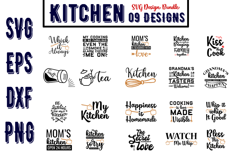 Download Free Kitchen Bundles Graphic By Design Store Creative Fabrica for Cricut Explore, Silhouette and other cutting machines.