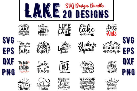 Download Free Lake Design Bundle Graphic By Design Store Creative Fabrica for Cricut Explore, Silhouette and other cutting machines.