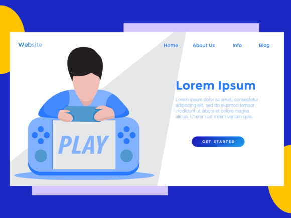 Download Free Landing Page Game Console Blue Graphic By Archshape Creative for Cricut Explore, Silhouette and other cutting machines.