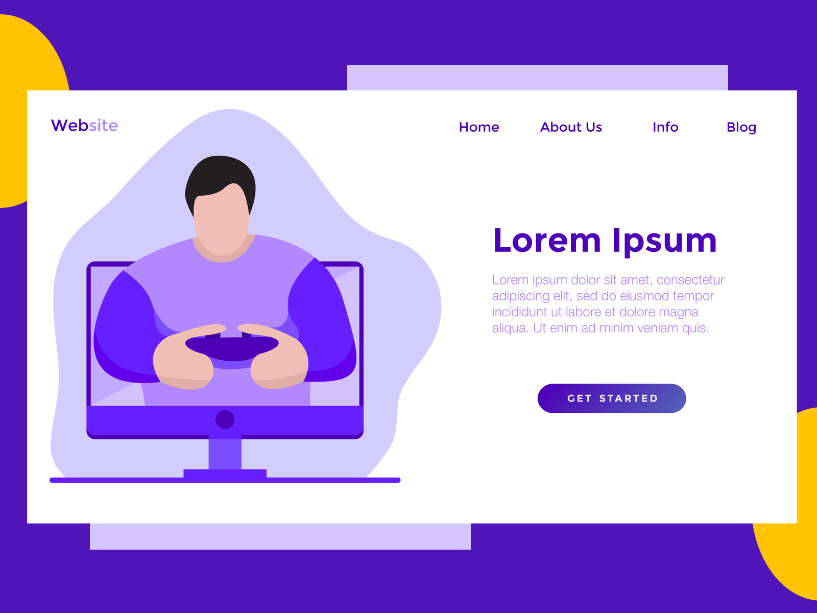Download Free Landing Page Game Monitor Purple Graphic By Archshape Creative for Cricut Explore, Silhouette and other cutting machines.