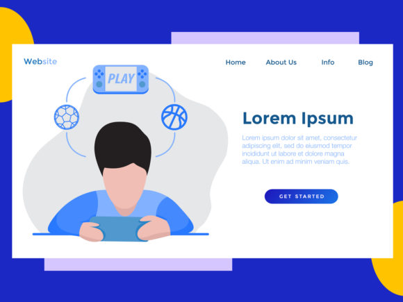 Download Free Landing Page Game Play Blue Graphic By Archshape Creative Fabrica for Cricut Explore, Silhouette and other cutting machines.
