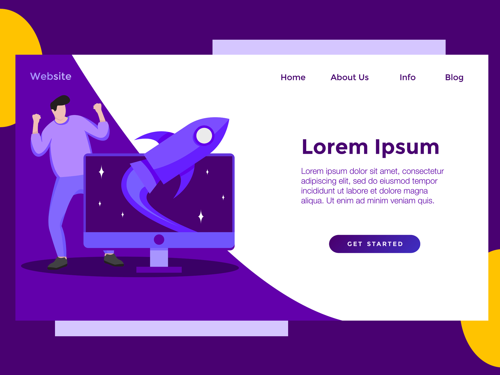 Download Free Landing Page Game Rocket Purple Graphic By Archshape Creative for Cricut Explore, Silhouette and other cutting machines.