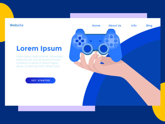 Download Free Landing Page Game Stick Blue Graphic By Archshape Creative Fabrica for Cricut Explore, Silhouette and other cutting machines.