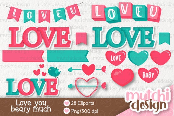 Download Free Love You Beary Much 01 Clipart Set Graphic By Mutchi Design for Cricut Explore, Silhouette and other cutting machines.