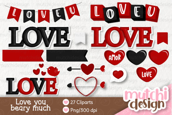 Print on Demand: Love You Beary Much 02 Clipart Set Graphic Illustrations By Mutchi Design