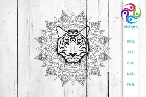Download Free Mandala With Tiger Head Cut File Graphic By Sintegra Creative for Cricut Explore, Silhouette and other cutting machines.