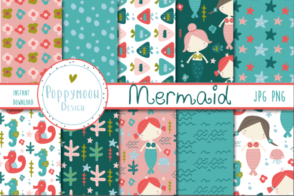 Print on Demand: Mermaid Paper Graphic Patterns By poppymoondesign