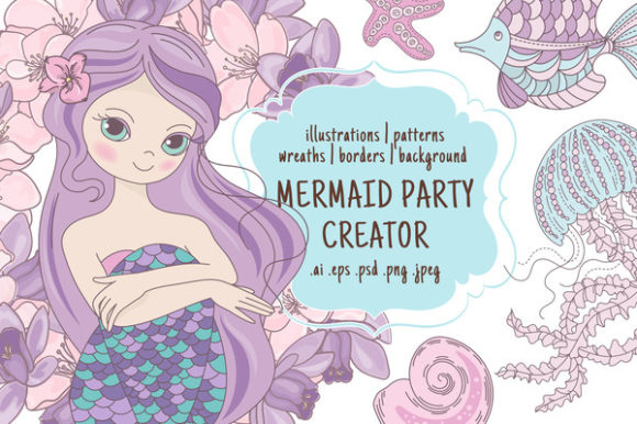 Print on Demand: Mermaid Party Creator Graphic Illustrations By FARAWAYKINGDOM