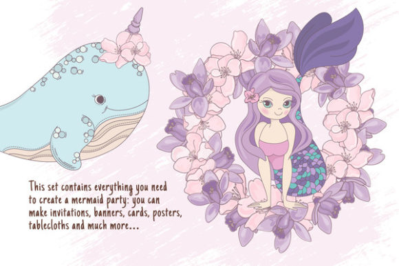 Print on Demand: Mermaid Party Creator Graphic Illustrations By FARAWAYKINGDOM - Image 2