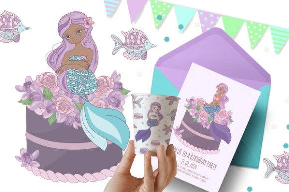 Print on Demand: Mermaid Party Creator Graphic Illustrations By FARAWAYKINGDOM - Image 3