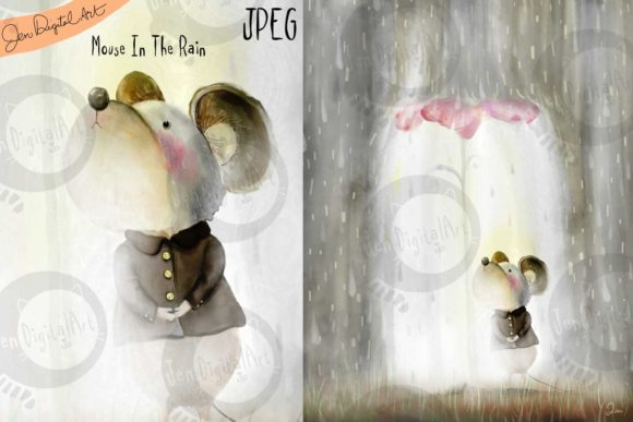 Mouse in the Rain Graphic Illustrations By Jen Digital Art - Image 1