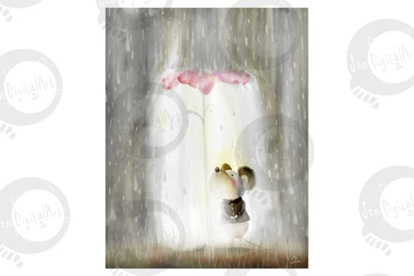 Mouse in the Rain Graphic Illustrations By Jen Digital Art - Image 2