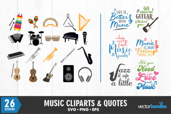 Download Free Music Quotes And Cliparts Bundle Graphic By Vectorbundles for Cricut Explore, Silhouette and other cutting machines.