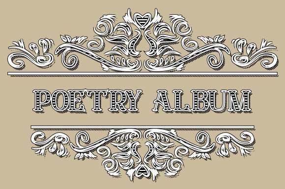 Download Free Poetry Album Vintage Ornamental Frame Graphic By Graphicsfarm for Cricut Explore, Silhouette and other cutting machines.