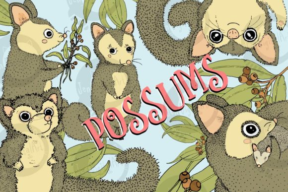 Possums Graphic Illustrations By Jen Digital Art - Image 1