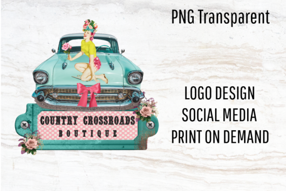 Print on Demand: Retro Car, Vintage Logo, Pinup Girl Png Graphic Logos By Blueberry Jam Design