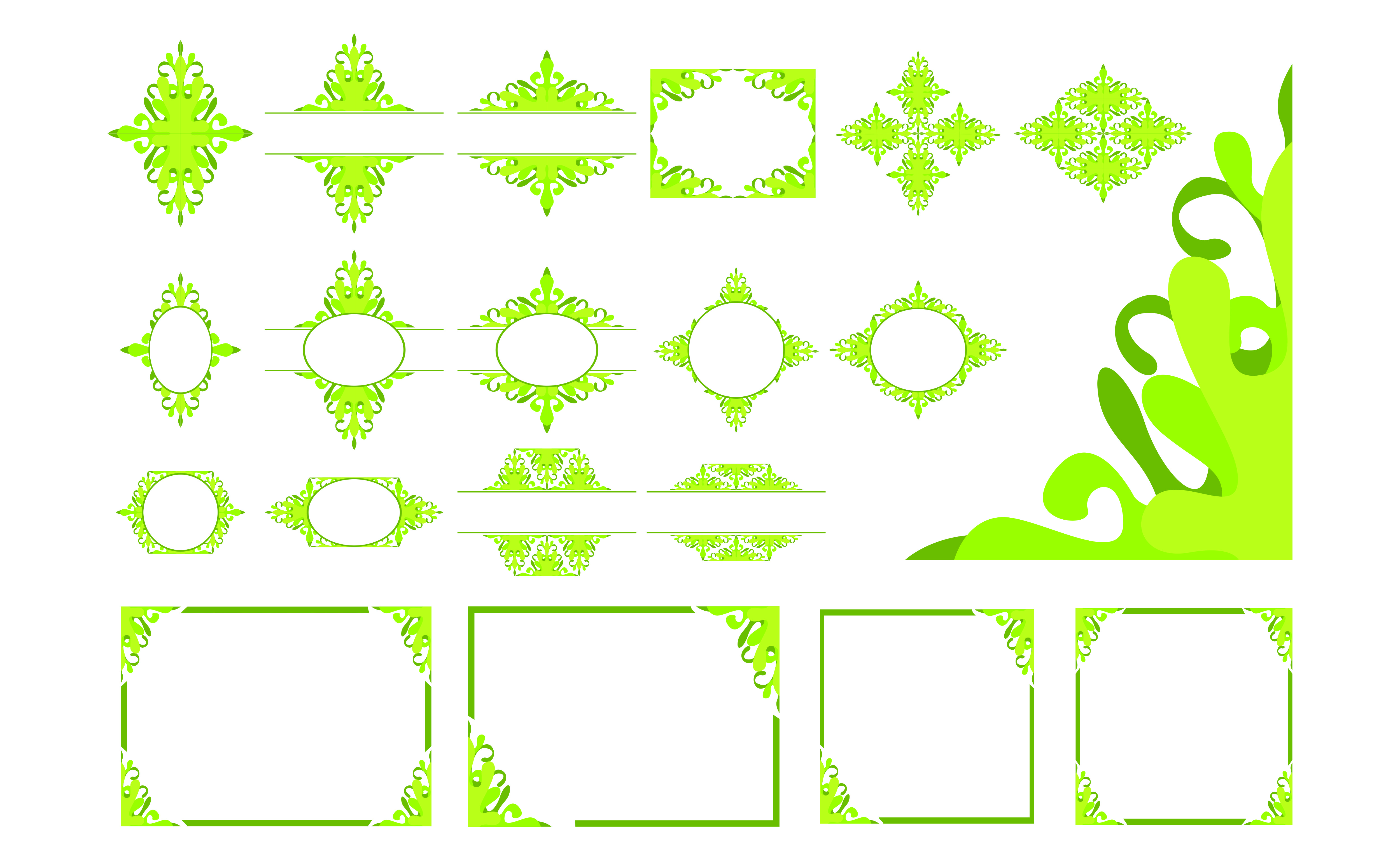 Download Free Set Of Green Ornament Border And Frame Graphic By Arief Sapta for Cricut Explore, Silhouette and other cutting machines.