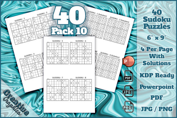 Print on Demand: Sudoku 40 Puzzles Hard + Solutions 10 Graphic KDP Interiors By Creative Graphica