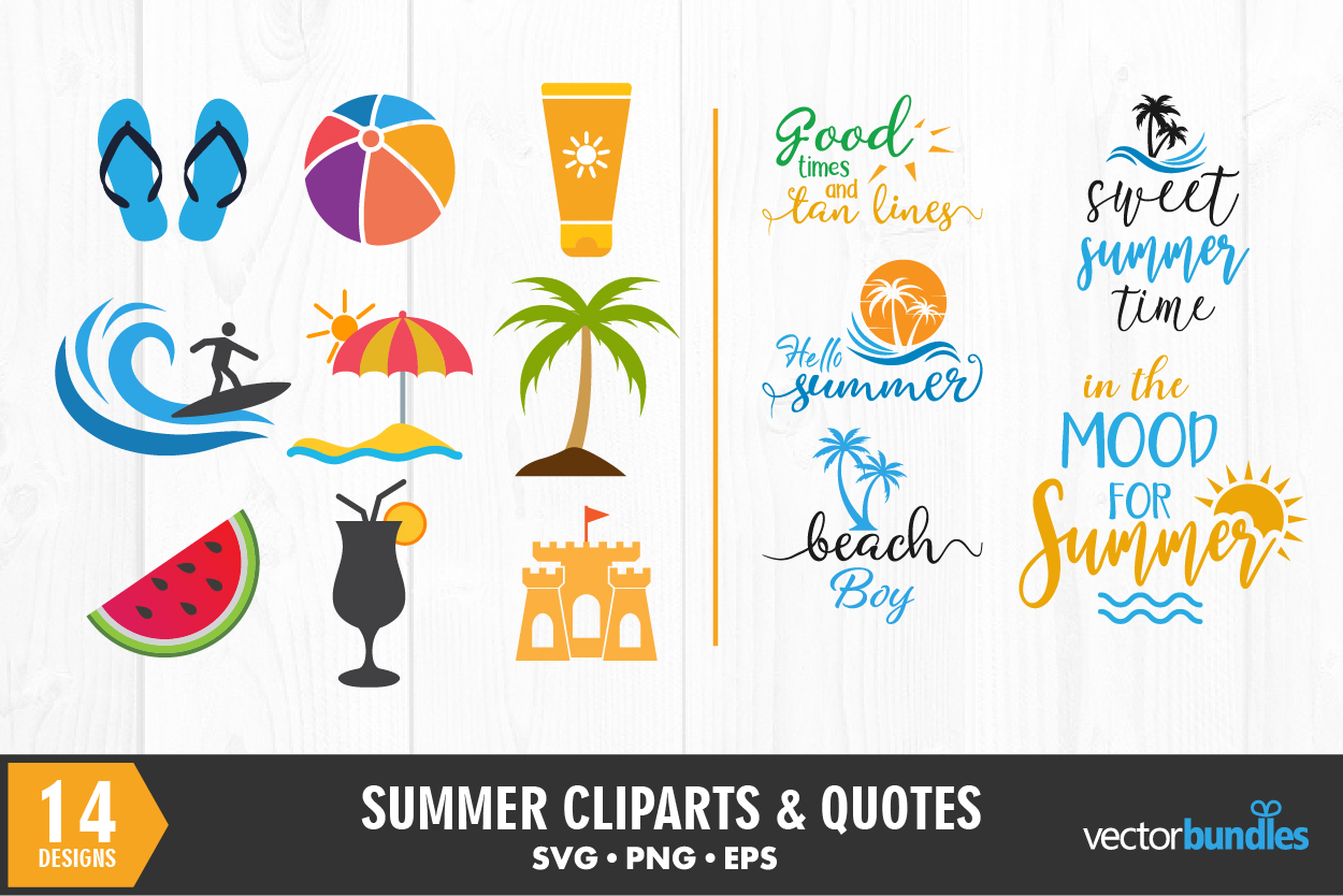 Download Free Summer Quotes And Cliparts Bundle Graphic By Vectorbundles for Cricut Explore, Silhouette and other cutting machines.