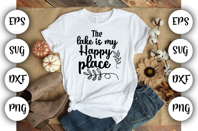 Download Free The Lake Is My Happy Place Graphic By Design Store Creative for Cricut Explore, Silhouette and other cutting machines.