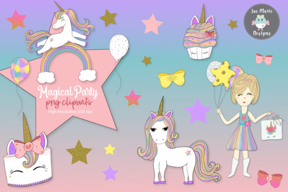 Download Free Unicorn Birthday Clipart Graphic By Thejaemarie Creative Fabrica for Cricut Explore, Silhouette and other cutting machines.