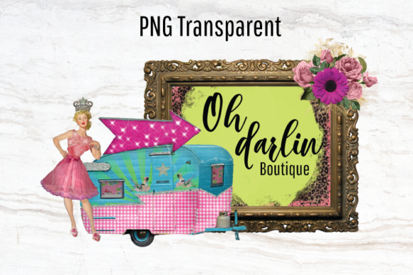 Print on Demand: Vintage Camper Logo, Retro Pinup Girl Graphic Logos By Blueberry Jam Design