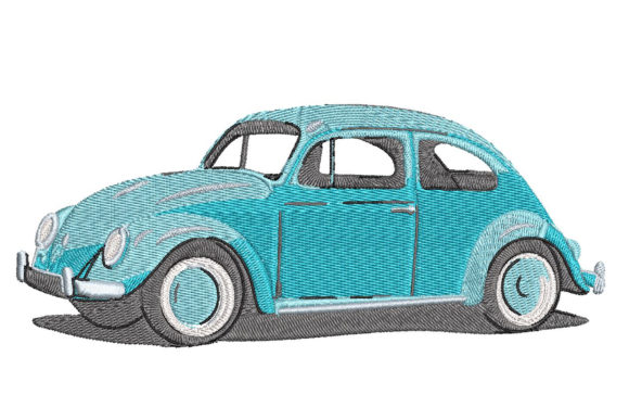 Print on Demand: Vintage Car Volkswagen Beetle 1970 Transportation Embroidery Design By Embroidery Shelter