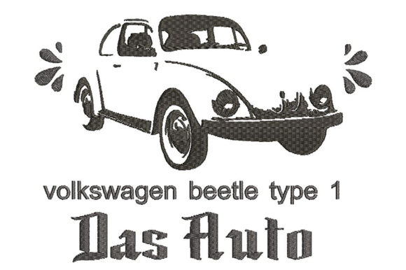 Print on Demand: Volkswagen Beetle Type1 Minimalistic Transportation Embroidery Design By Embroidery Shelter
