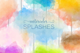 Print on Demand: Watercolor Border Blot Ink Splashes Graphic Backgrounds By Prawny 1