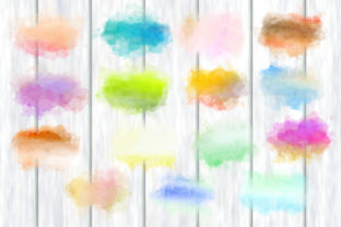 Print on Demand: Watercolor Border Blot Ink Splashes Graphic Backgrounds By Prawny 2