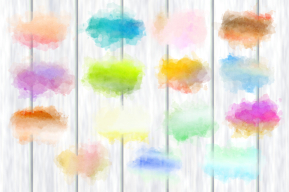 Print on Demand: Watercolor Border Blot Ink Splashes Graphic Backgrounds By Prawny - Image 2
