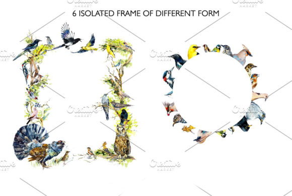 Watercolor Forest Bird Frames Graphic Illustrations By Мария Кутузова - Image 4