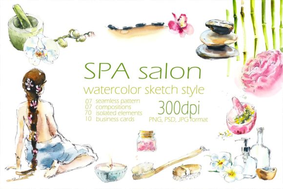 Watercolor SPA Salon Graphic Illustrations By Мария Кутузова