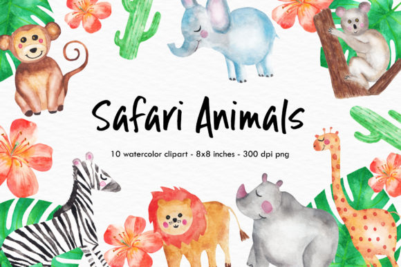 Watercolor Safari Animals Illustrations Graphic Illustrations By BonaDesigns