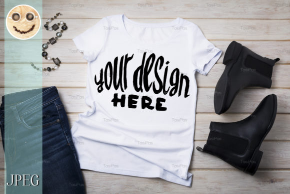 Print on Demand: Womens T-shirt Mockup with Chelsea Boots Graphic Product Mockups By TasiPas