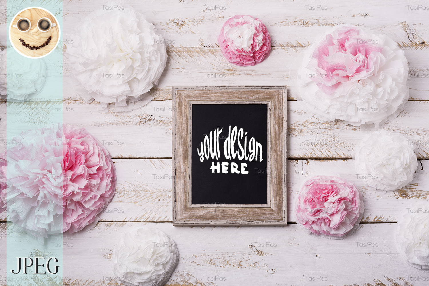 Download Free Wooden Frame Mockup With Paper Flowers Graphic By Tasipas for Cricut Explore, Silhouette and other cutting machines.