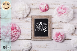 Print on Demand: Wooden Frame Mockup with Paper Flowers. Graphic Product Mockups By TasiPas 3