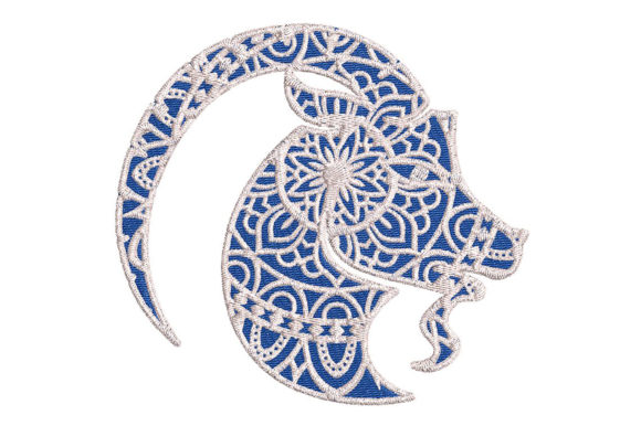 Print on Demand: Zodiac Capricorn Mandala Style Farm Animals Embroidery Design By Embroidery Shelter