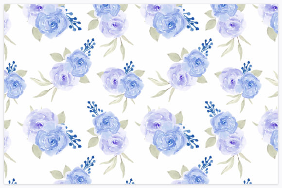 Download Free Blue Rose Floral Watercolor Pattern Graphic By Elsabenaa for Cricut Explore, Silhouette and other cutting machines.