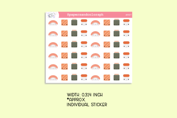 Download Free Kawaii Sushi Planner Sticker Sheet Graphic By Printables By for Cricut Explore, Silhouette and other cutting machines.