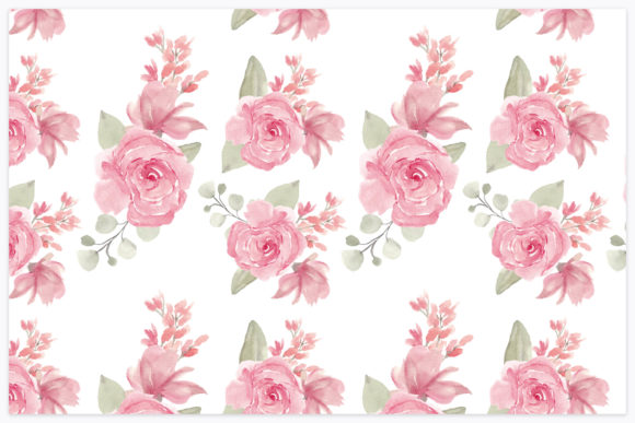 Print on Demand: Watercolor Paint Flower Repeat Pattern Graphic Patterns By elsabenaa