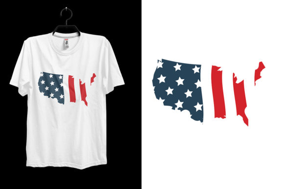 4th of July American Flag T-shirt Design Graphic Print Templates By Storm Brain