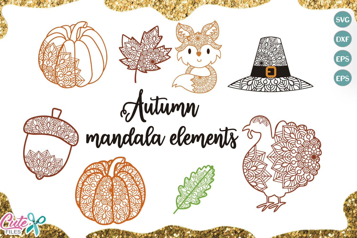 Download Free Autumn Mandala Bundle Cut Files Graphic By Cute Files Creative for Cricut Explore, Silhouette and other cutting machines.