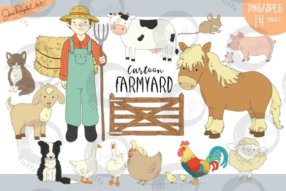 Cartoon Farmyard Gráfico Ilustraciones Por Jen Digital Art