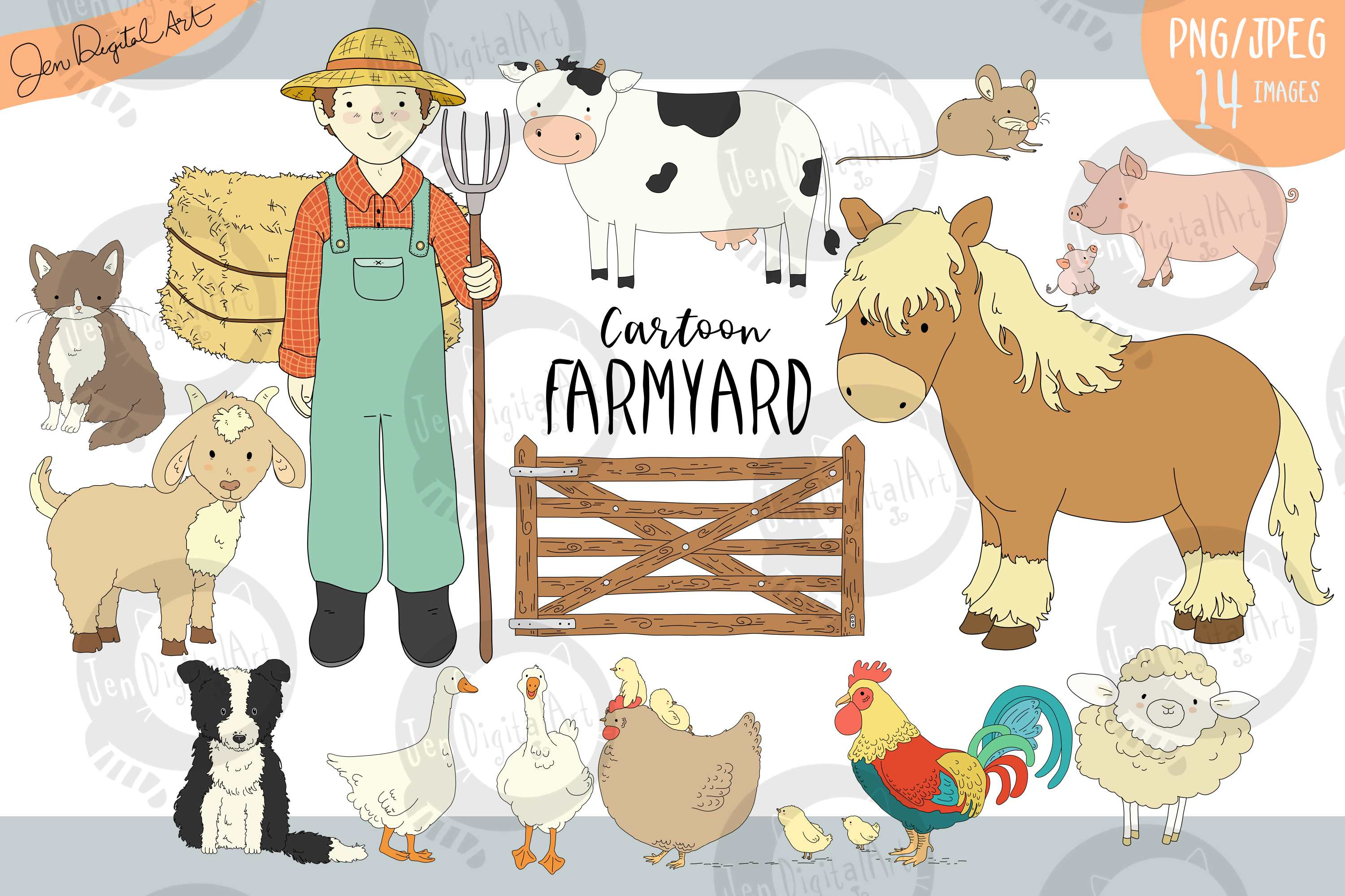 Download Free Cartoon Farmyard Graphic By Jen Digital Art Creative Fabrica for Cricut Explore, Silhouette and other cutting machines.