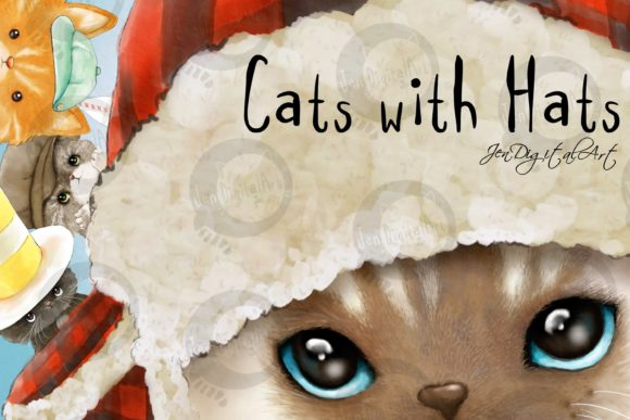 Cats with Hats Graphic Illustrations By Jen Digital Art