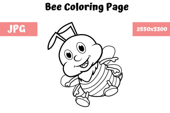 Print on Demand: Coloring Book Page for Kids - Bee Gráfico Libros para colorear - Niños Por MyBeautifulFiles