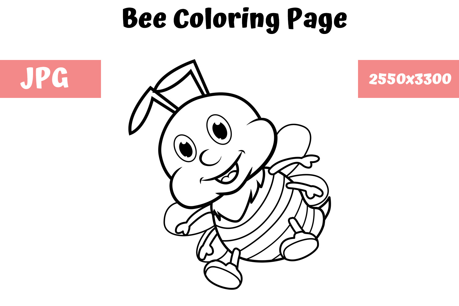 Download Free Coloring Book Page For Kids Bee Graphic By Mybeautifulfiles SVG Cut Files