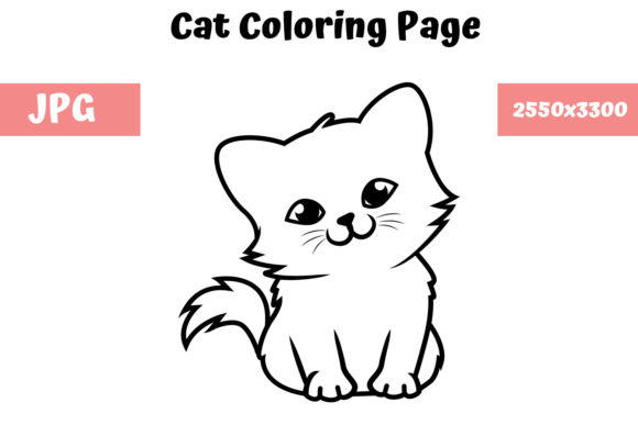 Print on Demand: Coloring Book Page for Kids - Cat 02 Graphic Coloring Pages & Books Kids By MyBeautifulFiles
