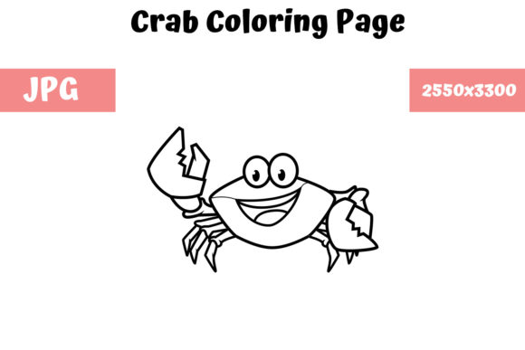 Download Free Coloring Book Page For Kids Crab Graphic By Mybeautifulfiles for Cricut Explore, Silhouette and other cutting machines.